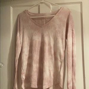 Light Pink American Eagle Long Sleeve V-Neck